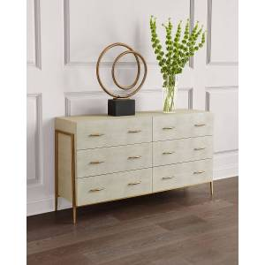 Interlude Home Morand Faux Shagreen 6-Drawer Chest
