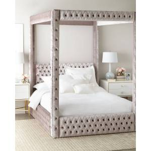 Haute House Astrid King Canopy Bed - AMETHYST