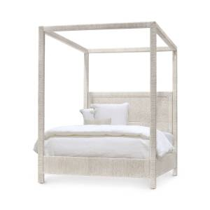 Palecek Woodside Canopy Queen Bed, White Sand