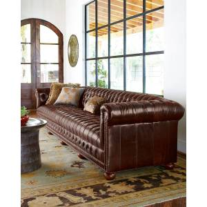 """Old Hickory Tannery Executive 93""""L Chesterfield Sofa  - CHOCOLATE - Gender: unisex"""