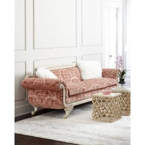 "Old Hickory Tannery Norris Tufted-Back Sofa 98""  - LIGHT CORAL - Gender: unisex"