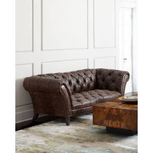Old Hickory Tannery Fritz Tufted-Leather Sofa - LATTE