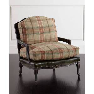 Old Hickory Tannery Gideon Bergere Chair - GREEN PLAID