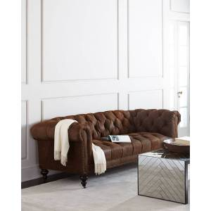 """Old Hickory Tannery Morgan Rustic-Suede Chesterfield Sofa 86""""  - BROWN - Gender: unisex"""