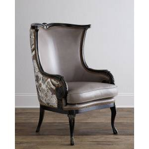 Massoud Candice Leather Wing Chair - LIGHT GREY