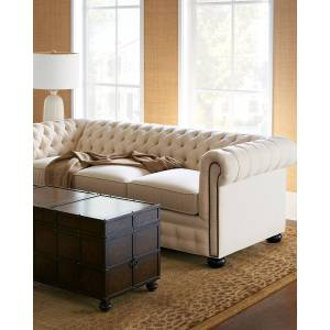 """Old Hickory Tannery Ellery Chesterfield Queen Sleeper Sofa 86"""""""
