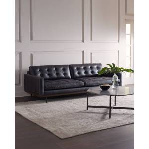 "Gamble Leather Sofa, 89""  - BLACK - Gender: unisex - Size: 93"" And Larger"