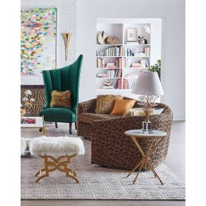 "Haute House Kylee Leopard Sofa, 126"" - LEOPARD"