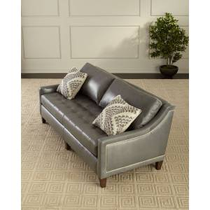 "Massoud Duplessis Leather Sofa, 84""  - GRAY - Gender: unisex - Size: 93"" And Larger"