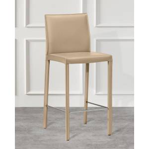 Interlude Home Pair of Vera Counter Stools, Cafe Latte
