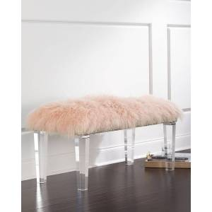 Massoud Kirabelle Sheepskin Bench, 60""