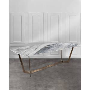 Interlude Home Lowell Dining Table - GREY/ BRONZE