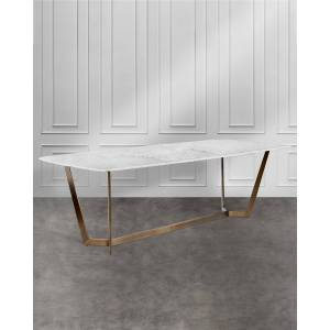 Interlude Home Lowell Dining Table - WHITE/BRONZE