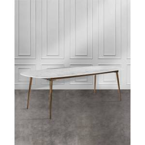 Interlude Home Griffin Dining Table - WHITE/ BRONZE