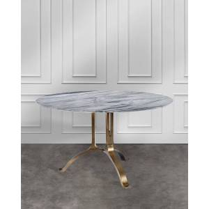 Interlude Home Tanner Round Dining Table - GREY/BRONZE