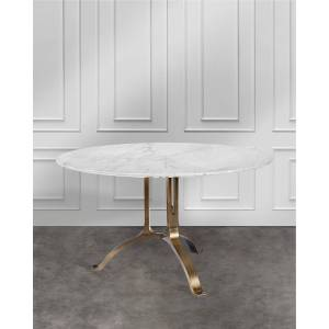 Interlude Home Tanner Round Dining Table - WHITE/BRONZE