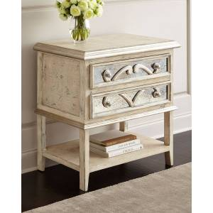 Peninsula Home Collection Lynley Mirrored-Accent Nightstand - DISTRESSED WHITE