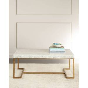 John-Richard Collection Cissy Calcite Coffee Table - BRASS