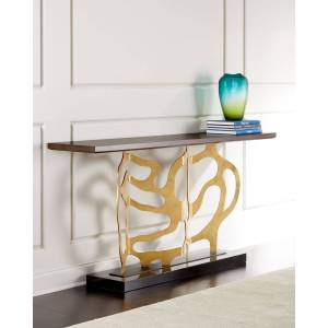 Ambella Bellwood Sculpted Console - WALNUT / GOLD