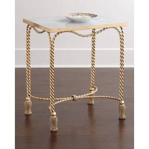 Farah Marble-Top Side Table - GOLD/MARBLE