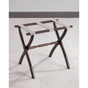 Gate House Furniture Luggage Rack with Greek Key Detailing, Chocolate - BROWN