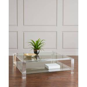 Interlude Home Landis Large Acrylic Square Coffee Table