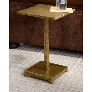 John-Richard Collection Textured Antiqued Brass Martini Table - BEIGE