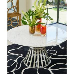 Emporium Home for William D Scott Aero Stainless Steel/Carrera Marble Table - STAINLESS STEEL