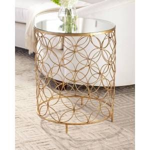 Sherry Mirror Top Side Table - GOLD