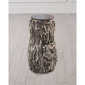 Global Views Oak Tree Accent Table - BLACK/ALUMINUM