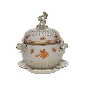 Herend Chinese Bouquet Rust Tureen and Platter