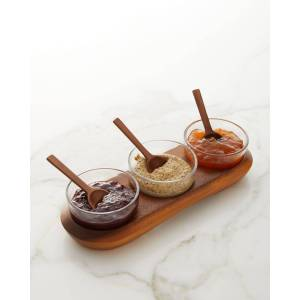Nambe Cooper Triple Condiment Server with Spoons