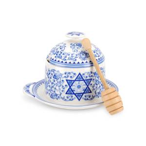 Spode Judaica Honey Pot with Drizzler