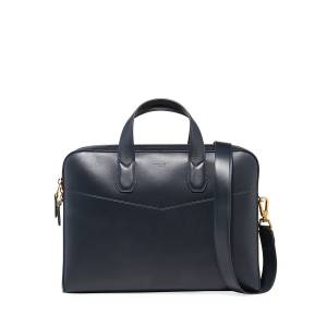 dunhill Men's Duke Single-Document Leather Briefcase - NAVY
