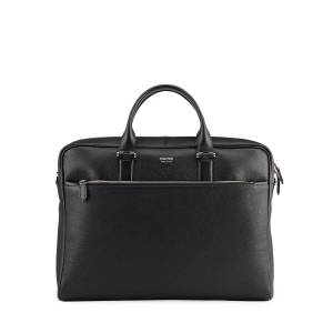 TOM FORD Men's Grained Leather Briefcase - BLACK
