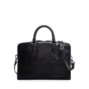 Ermenegildo Zegna Men's Blazer Leather Slim Briefcase - BLACK