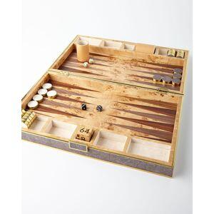 AERIN Chocolate Faux-Shagreen Backgammon Set