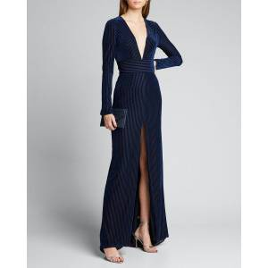 Galvan Velvet Deep-V Long-Sleeve Gown