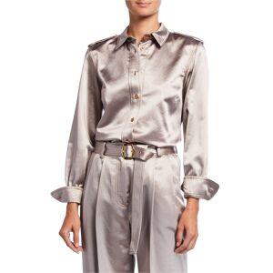 Sies Marjan Button-Front Sateen Shirt