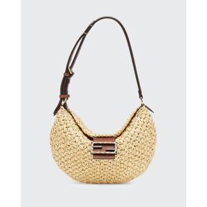 Fendi Croissant Small Woven Shoulder Bag, Natural  - female - NATURAL