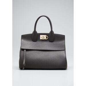 Salvatore Ferragamo Studio Medium Grainy Leather Satchel Bag  - female - BLACK