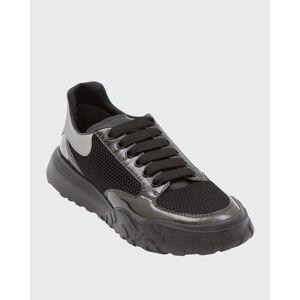 Alexander McQueen Men's Court Mix-Leather Chunky Sneakers  - male - BLKGUNMETAL - Size: 44 EU (11D US)
