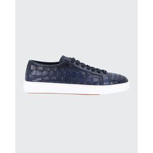 Santoni Men's Byam Textured Leather Low-Top Sneakers  - male - BLUE-U50 - Size: 10D