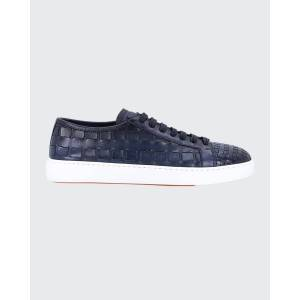 Santoni Men's Byam Textured Leather Low-Top Sneakers  - male - BLUE-U50 - Size: 8D