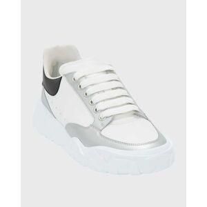 Alexander McQueen Men's Court Metallic Trainer Sneakers  - male - NATURL/BLK - Size: 45 EU (12D US)