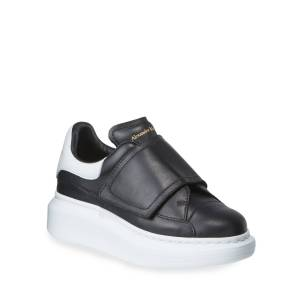 Alexander McQueen Oversized Grip-Strap Leather Sneakers, Toddler/Kids  - male - BLACK - Size: 26EU (9.5US Tod)