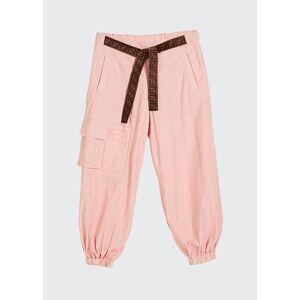 Fendi Girl's Jogger Pants w/ Tie Logo Belt, Size 4-6