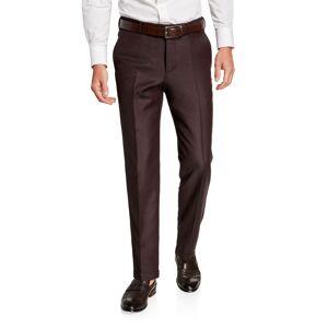 Ermenegildo Zegna Men's Achillfarm Twill Flat-Front Trousers  - male - BURGUNDY - Size: 60 EU (44R US)
