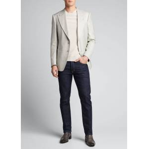 TOM FORD Men's Shelton Silk Canvas Sport Jacket  - male - GRAY - Size: 52R EU (41R US)