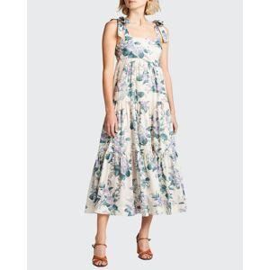 Zimmermann Cassia Floral Tie-Shoulder Dress  - female - HYDRANGEA FLORAL - Size: 0 / US 2-4